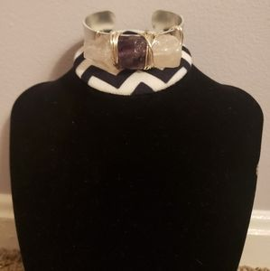 Wire wrapped rose quartz and amethyst cuff